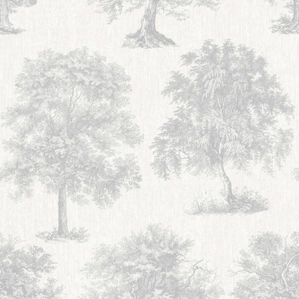 Graham & Brown Simplicity Enchanted Tree Silver Removable Wallpaper 104876