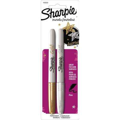 Metallic Gold and Metallic Silver Fine Point Permanent Marker (2-Pack)