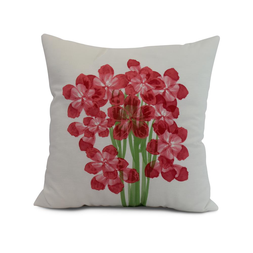 Florpalida 16 in. Red Decorative Floral Throw Pillow