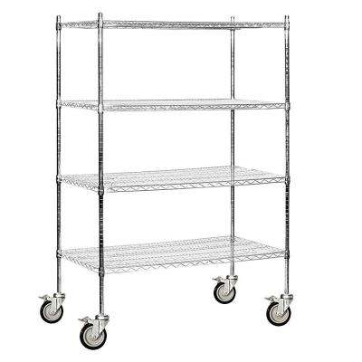 9600M Series 48 in. W x 80 in. H x 24 in. D Industrial Grade Welded Wire Mobile Wire Shelving in Chrome