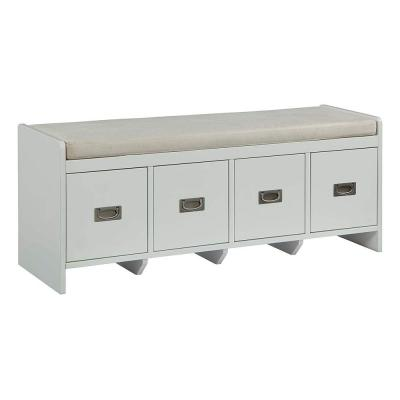 18.98 in. H x 15.75 in. W x 47.95 in. L White Wooden Bench with Fabric Upholstered Seat Cushion and Storage