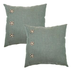 18 in. Spa Outdoor Toss Pillow with Starfish Buttons (2-Pack)