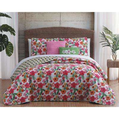 Kailua 5-Piece Pink/Yellow King Quilt Set