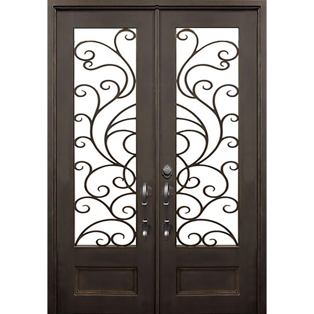 ALLURE IRON DOORS & WINDOWS 72 in. x 96 in. Islamorada Dark Bronze Classic 3/4 Lite Painted Wrought Iron Prehung Front Door (Hardware Included)