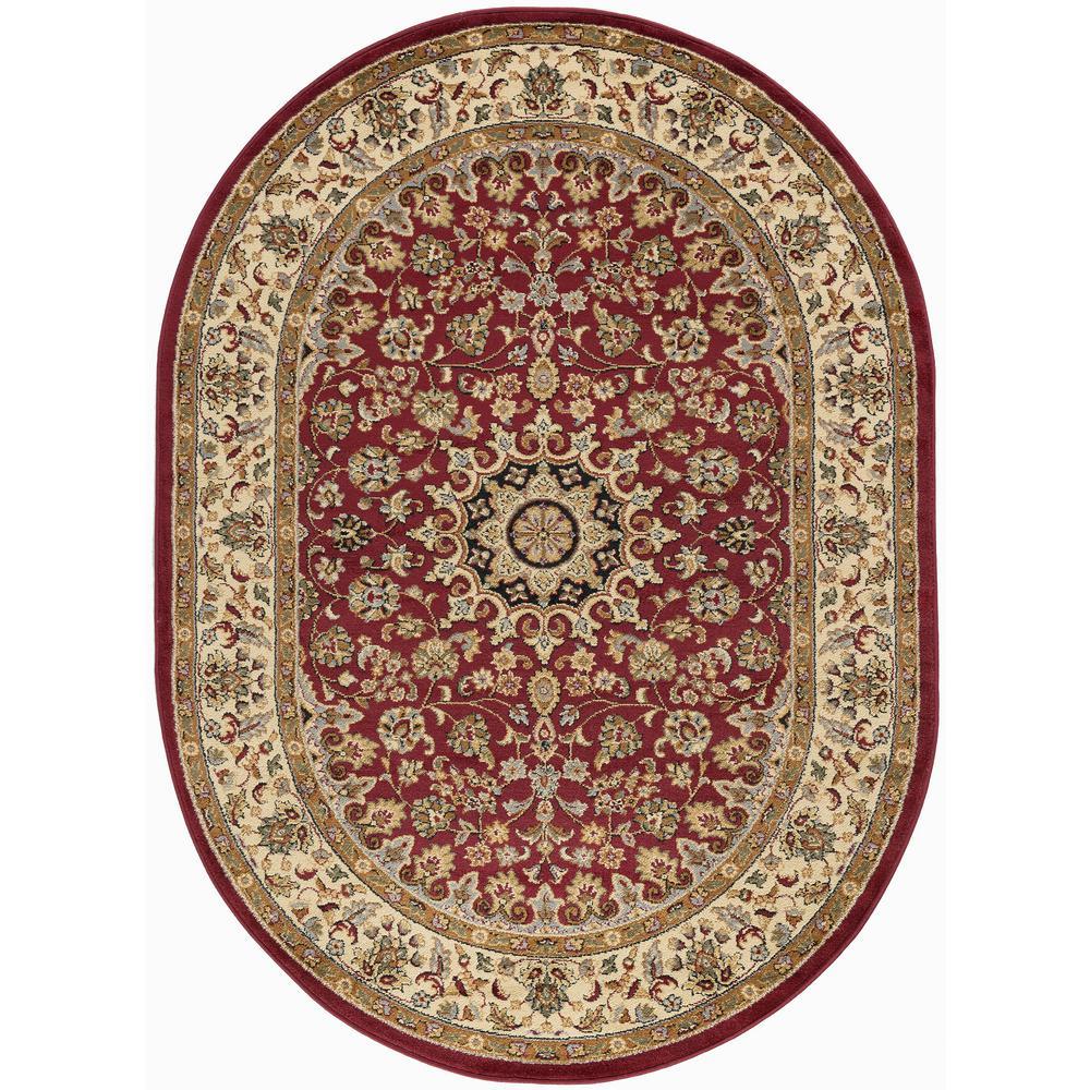 Art Carpet Arabella Accustomed Red 7 Ft. X 10 Ft. Oval