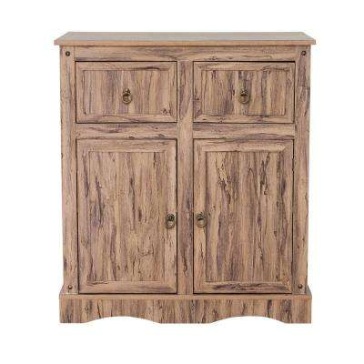 Wren Maple Veneer Simplicity Storage Cabinet with 2-Doors 2-Drawers