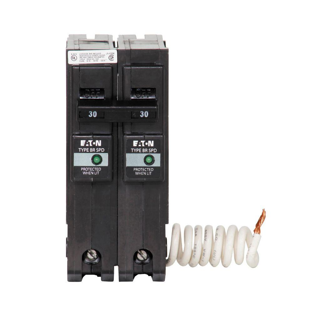 Eaton BR 30 Amp 2 Pole Circuit Breaker with Surge Protection ...