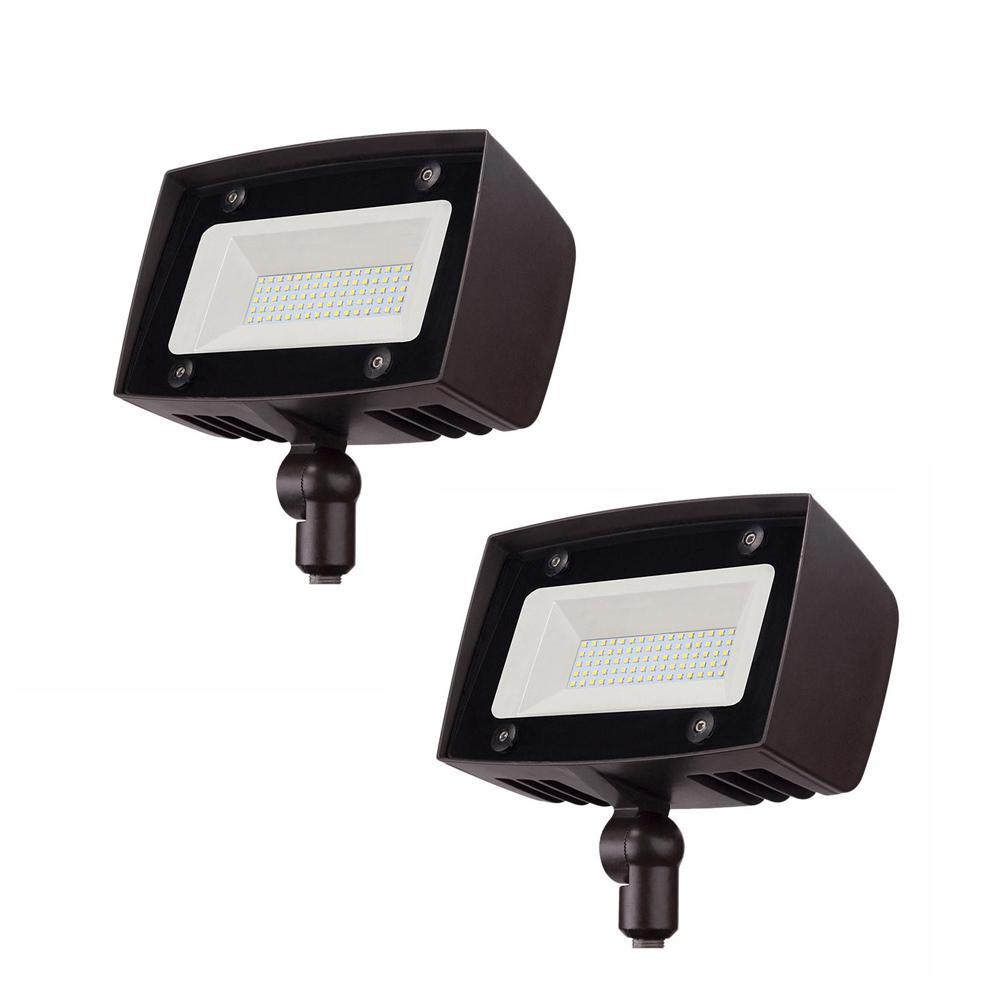 High-Output 350-Watt Equivalent Integrated Outdoor LED Flood Light, 5000 Lumens, Dusk to Dawn Outdoor Light (2-Pack)
