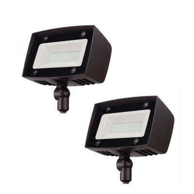 High-Output Integrated LED Flood Light, 5000 Lumens, Dusk to Dawn Outdoor Light for Outdoor Security Lighting (2-Pack)