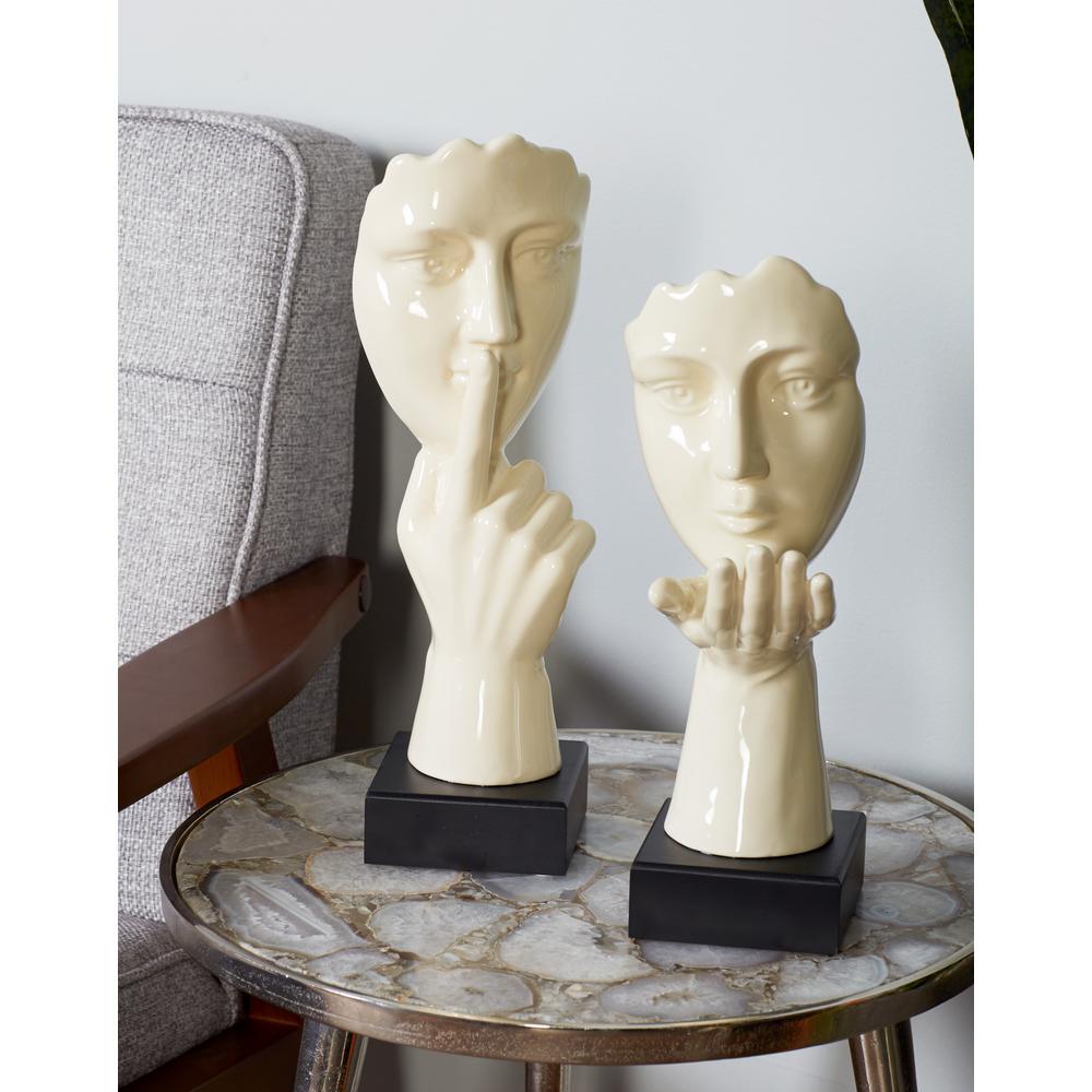 Litton Lane Man in a Hush Gesture Ceramic Sculpture in White