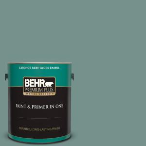 Behr Premium Plus 1 Gal S430 5 Longmeadow Semi Gloss Enamel Exterior Paint And Primer In One 540001 The Home Depot