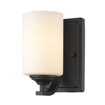 Barr 1-Light Bronze Wall Sconce with Matte Opal Glass
