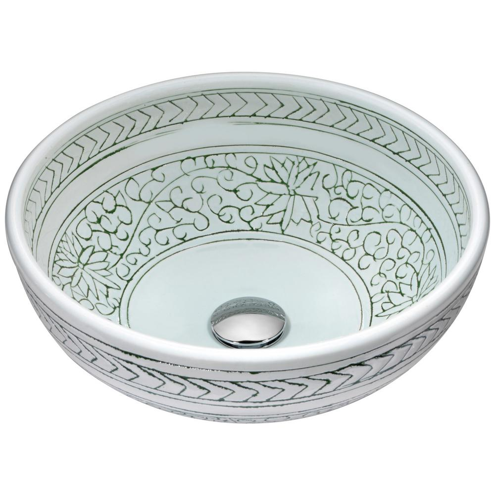 Cadence Series Vessel Sink in Decor White