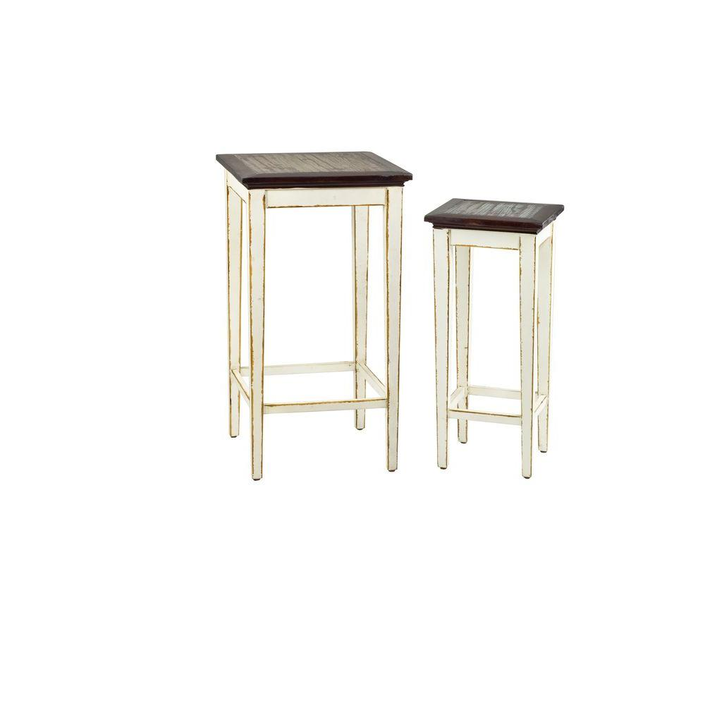 Laura White and Brown 2-Piece Nesting End Table