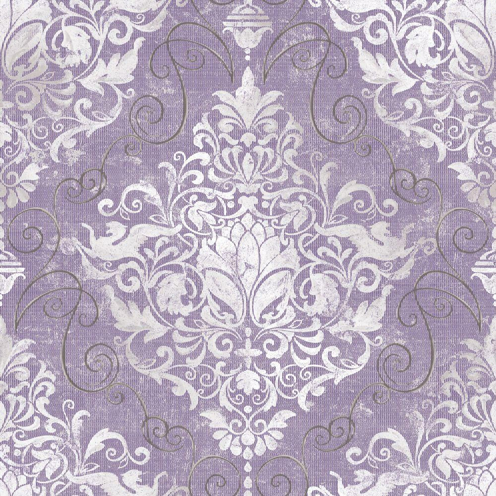 The Wallpaper Company 8 in. x 10 in. Chandeliere Damask Red Wallpaper Sample