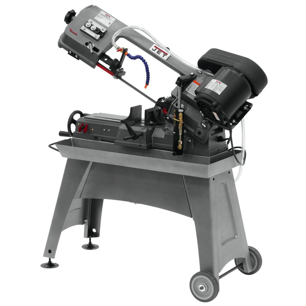 Jet 1/2 HP 5 in. x 8 in. Wet Metalworking Horizontal Band Saw with Rolling Stand, 3-Speed, 115-Volt, J-3230