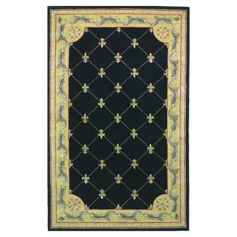 Kas Rugs Antique Fleur-De-Lis Black 7 ft. 9 in. x 9 ft. 6 in. Area Rug