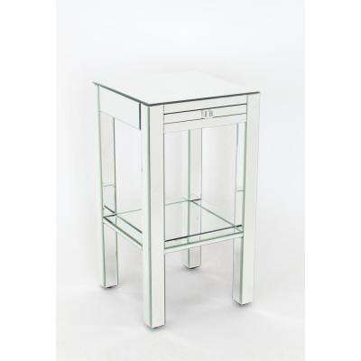 Clear Beveled Mirror Side Table