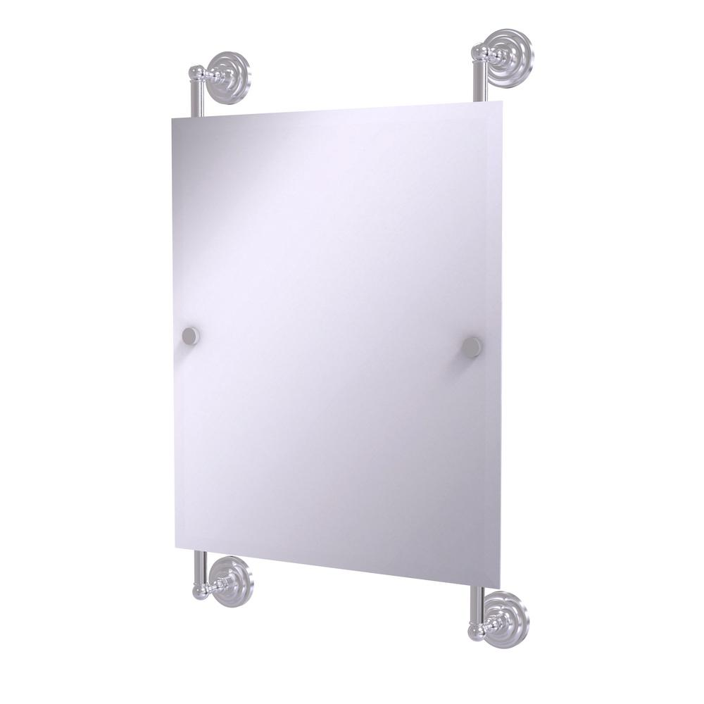 Allied Brass Que New Collection 25 in. x 33 in. Rectangular Frameless Rail Mounted Mirror in Satin Chrome