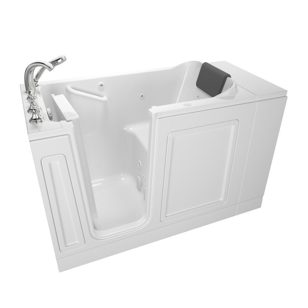 Acrylic Luxury 48 in. Left Hand Walk-In Whirlpool Bathtub in White