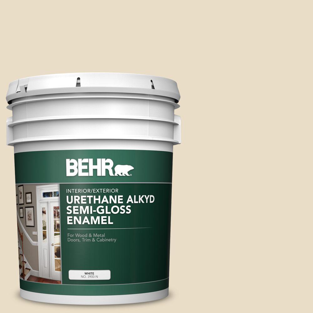 5 gal. #22 Navajo White Urethane Alkyd Semi-Gloss Enamel Interior/Exterior Paint