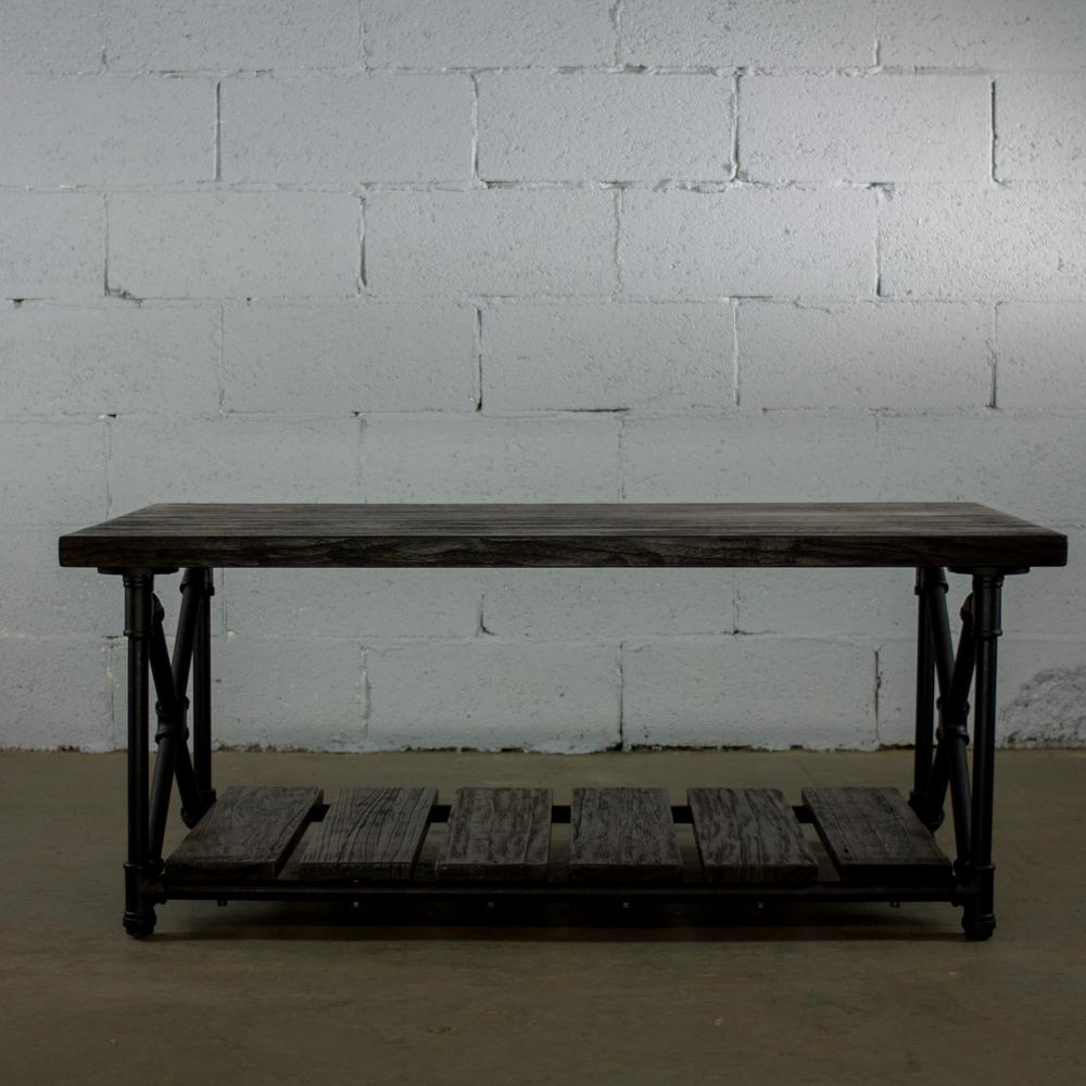 OS Home And Office Furniture Black Steel Industrial Pipe 2 Tier Coffee Table  With Reclaimed