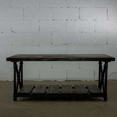 Black Steel Industrial Pipe 2-Tier Coffee Table with Reclaimed-Aged Wood