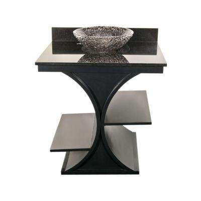 Cruz 30 in. Vanity in Black with Granite Vanity Top in Black with Black Nickel Pebble Basin