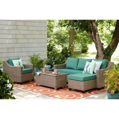 Amber Grove Natural Brown Stationary Resin Wicker Outdoor Lounge Chair with CushionGuard Surplus Green Cushions