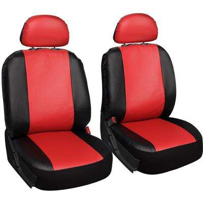 Polyurethane Seat Covers 21.5 in. L x  21 in. W x 31 in. H  Seat Cover Set in Red and Black (6-Piece)