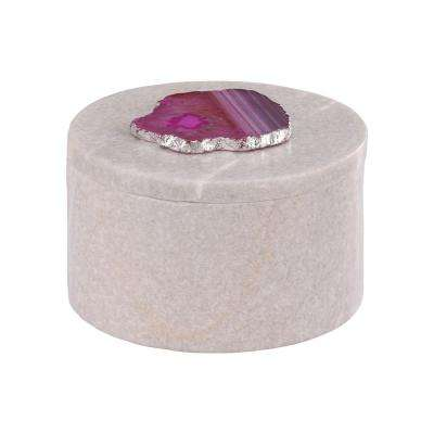 Antilles 5.5 in. x 3 in. White Marble And Pink Agate Round Decorative Box