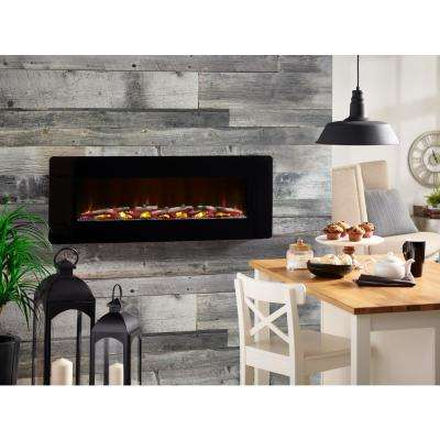 Winslow 48 in. Wall-Mount/Tabletop Linear Electric Fireplace in Black