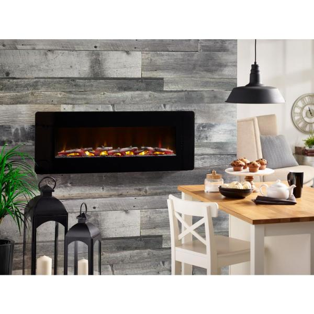 Winslow 48 in. Wall-Mount/Tabletop Linear Electric Fireplace in Black