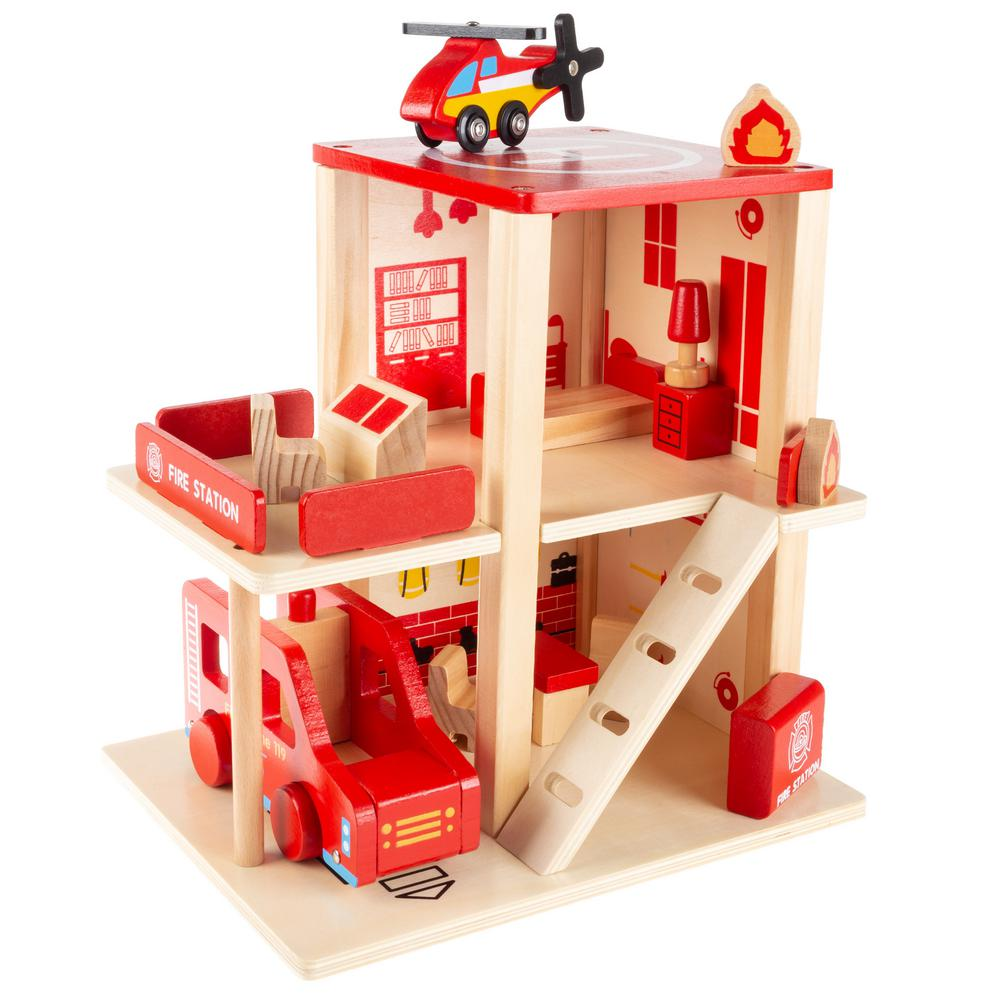 Hey Play Wooden Fire Station Playset With Accessories