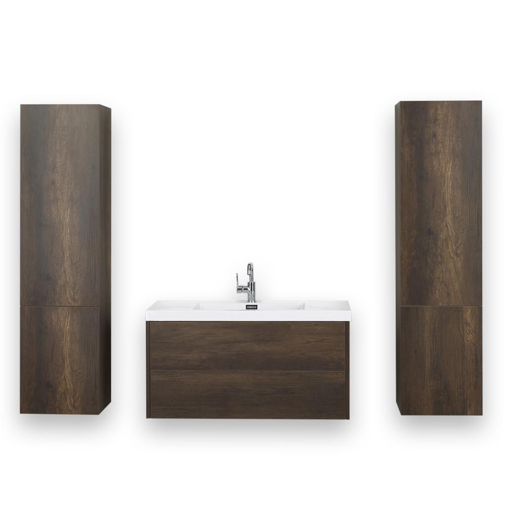 Streamline 39.4 in. W x 19.5 in. H Bath Vanity in Brown with Resin Vanity Top in White with White Basin