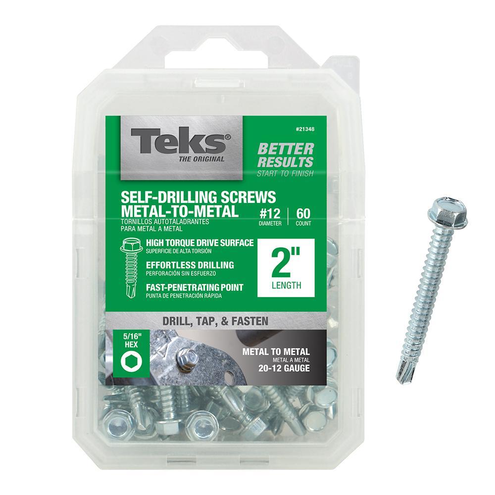 #12 2 in. External Hex Flange Hex-Head Self-Drilling Screws (60-Pack)