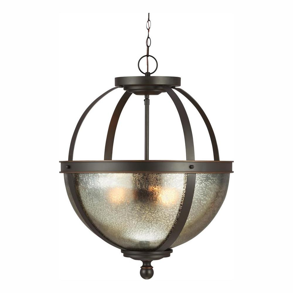 Sea Gull Lighting Sfera 18.5 in. W. 3-Light Autumn Bronze Pendant with LED Bulbs