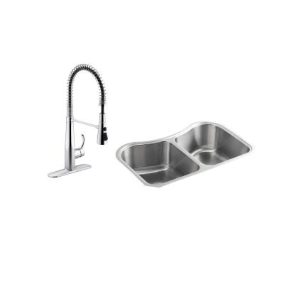 Staccato All-in-One Undermount Stainless Steel 31 in. Double Bowl Kitchen Sink with Simplice Faucet