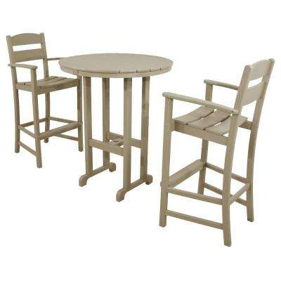 Classics Sand 3-Piece Plastic Outdoor Patio Bar Set