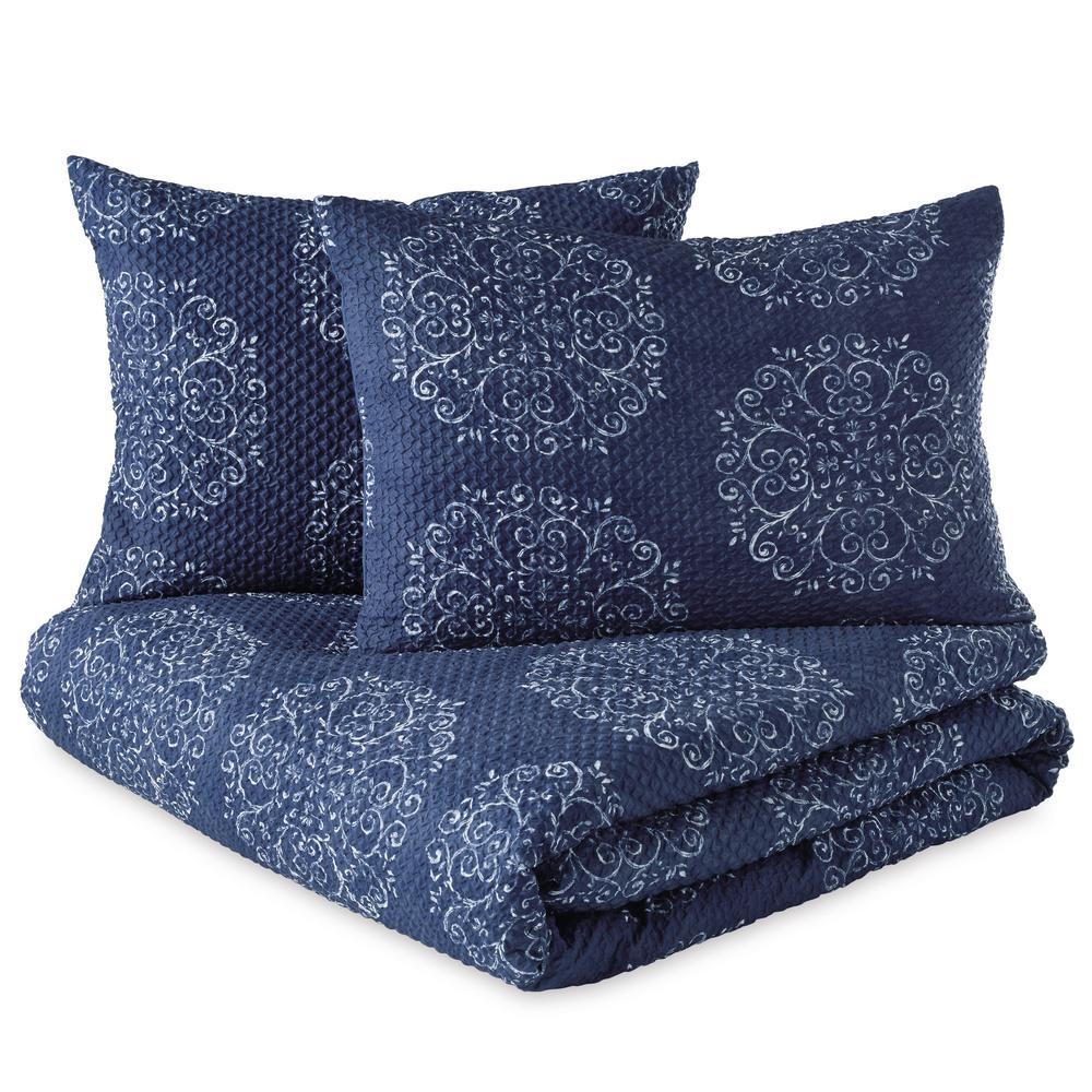 Medallion 3-Piece Navy Full/Queen Comforter Set