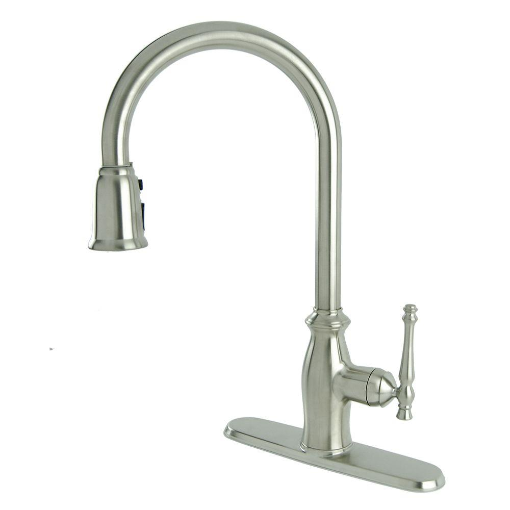 Fontaine Giordana Single-Handle Pull-Down Sprayer Kitchen Faucet in Stainless Steel