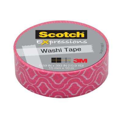 Scotch 0.59 in. x 10.9 yds. Pink Quatrefoil Expressions Washi Tape (Case of 36)
