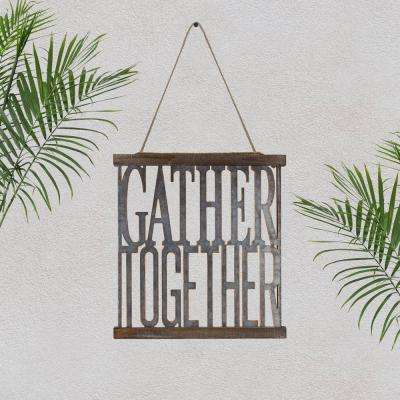 Gather Together Rustic Metal Typographic Wall Art