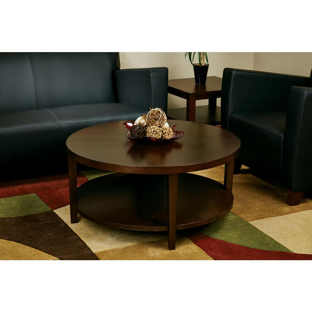 OSP Home Furnishings Merge Espresso Coffee Table, Brown Make a statement in your living room with the Ave Six Merge Coffee Table. Featuring a modern style, this coffee table will be a contemporary addition to your room complementing any decor. It has a wooden design, bringing character and charm to your home through its timeless appearance. Color: Brown.
