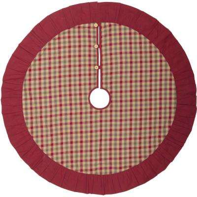 48 in. Jonathan Plaid Natural Tan Traditional Christmas Decor Tree Skirt
