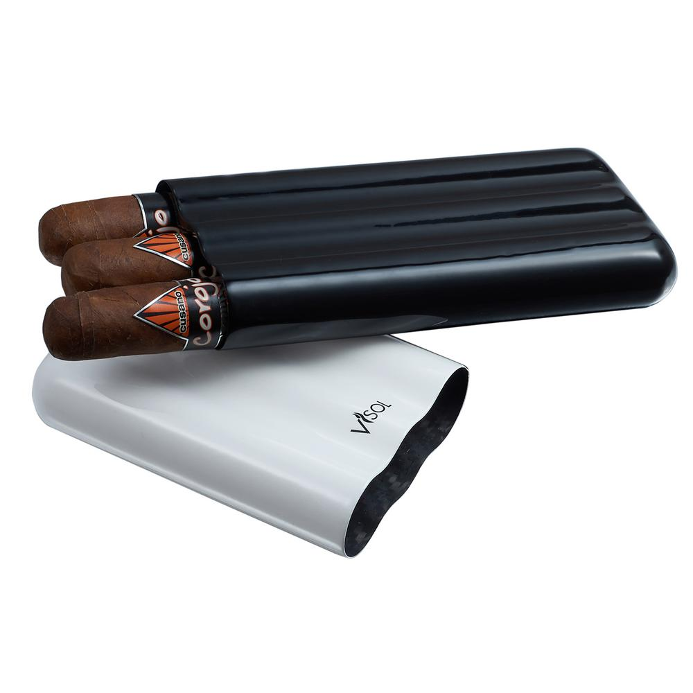 Agent White and Black Carbon Fiber Cigar Case - 3 Finger