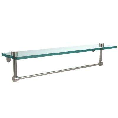 22 in. L  x 5 in. H  x 5 in. W Clear Glass Vanity Bathroom Shelf with Towel Bar in Satin Nickel