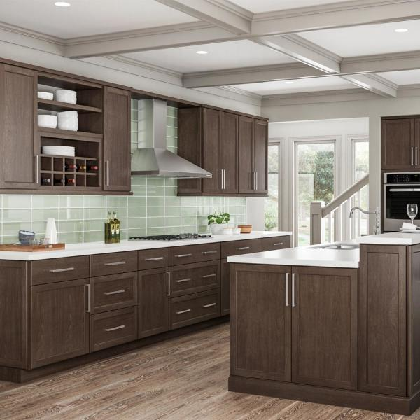 Hampton Bay Shaker Assembled 36x34 5x24 In Farmhouse Apron Front Sink Base Kitchen Cabinet In Brindle Ksbd36 Bdl The Home Depot