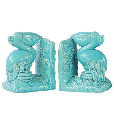 7 in. H Bird Decorative Sculpture in Blue Gloss Finish