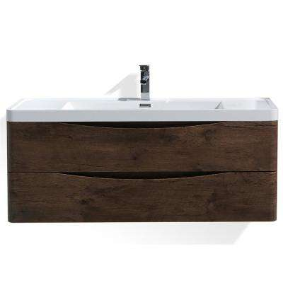 Smile 48 in. W Wall Hung Bath Vanity in Rosewood with Reinforced Acrylic Vanity Top in White with White Basin